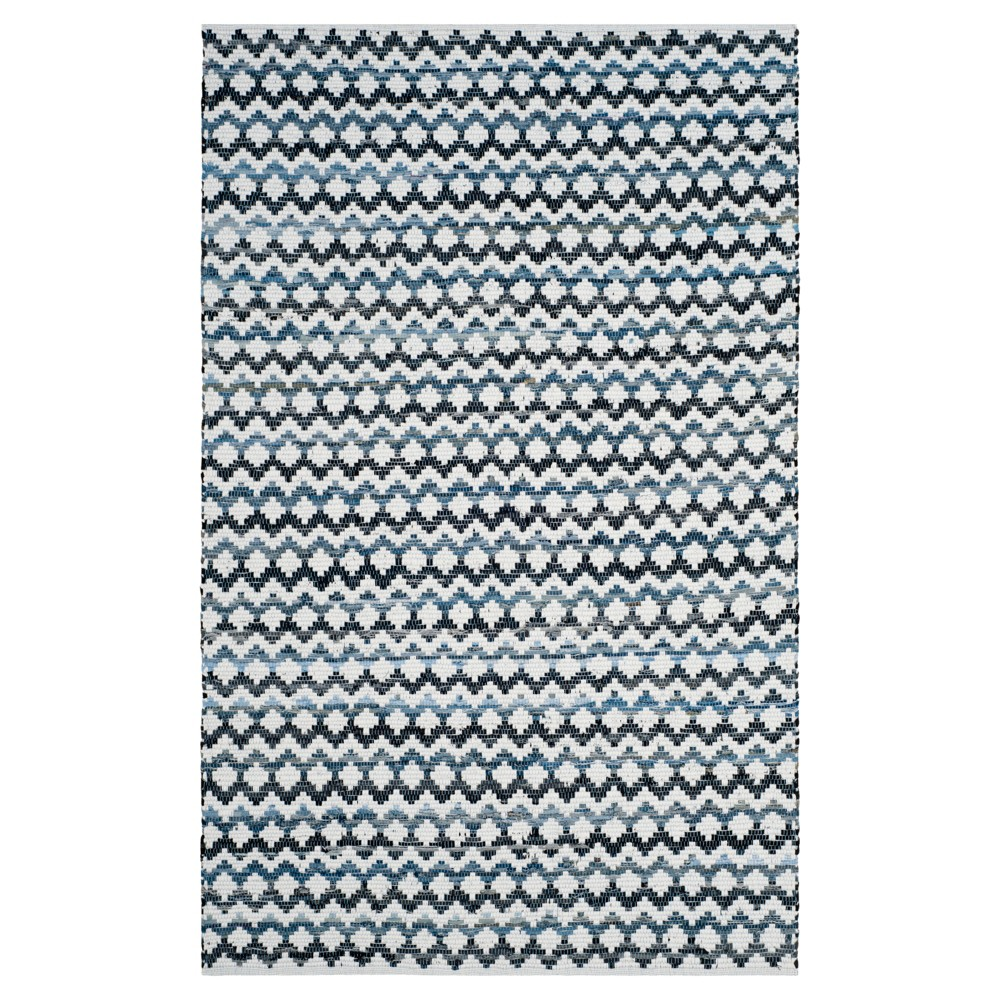 Ivory Blue/Black Stripes Woven Area Rug - (5'x8') - Safavieh