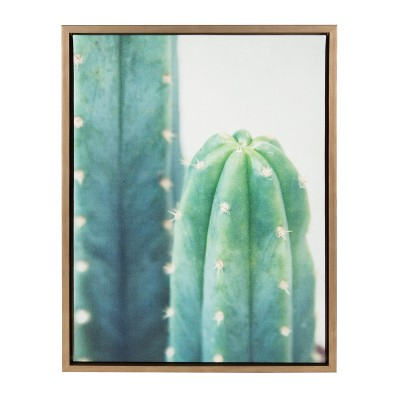 """18"""" x 24"""" Sylvie Cactus Framed Canvas by F2 Images Gold - Kate and Laurel"""