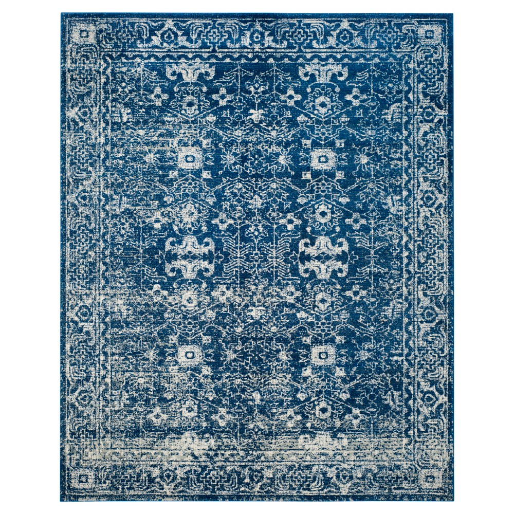 Navy Blue Ivory Abstract Loomed Round Area Rug 6 39 7 34 Safavieh