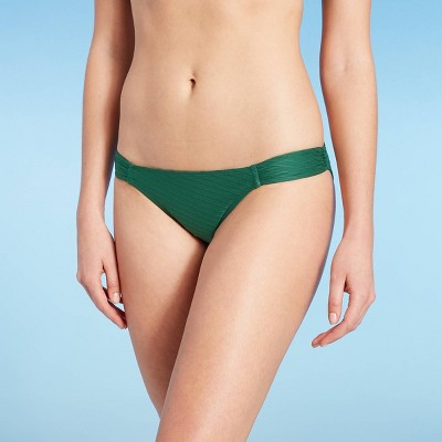 Juniors' Textured Side-Tab Hipster Bikini Bottom - Xhilaration™ Green Palm