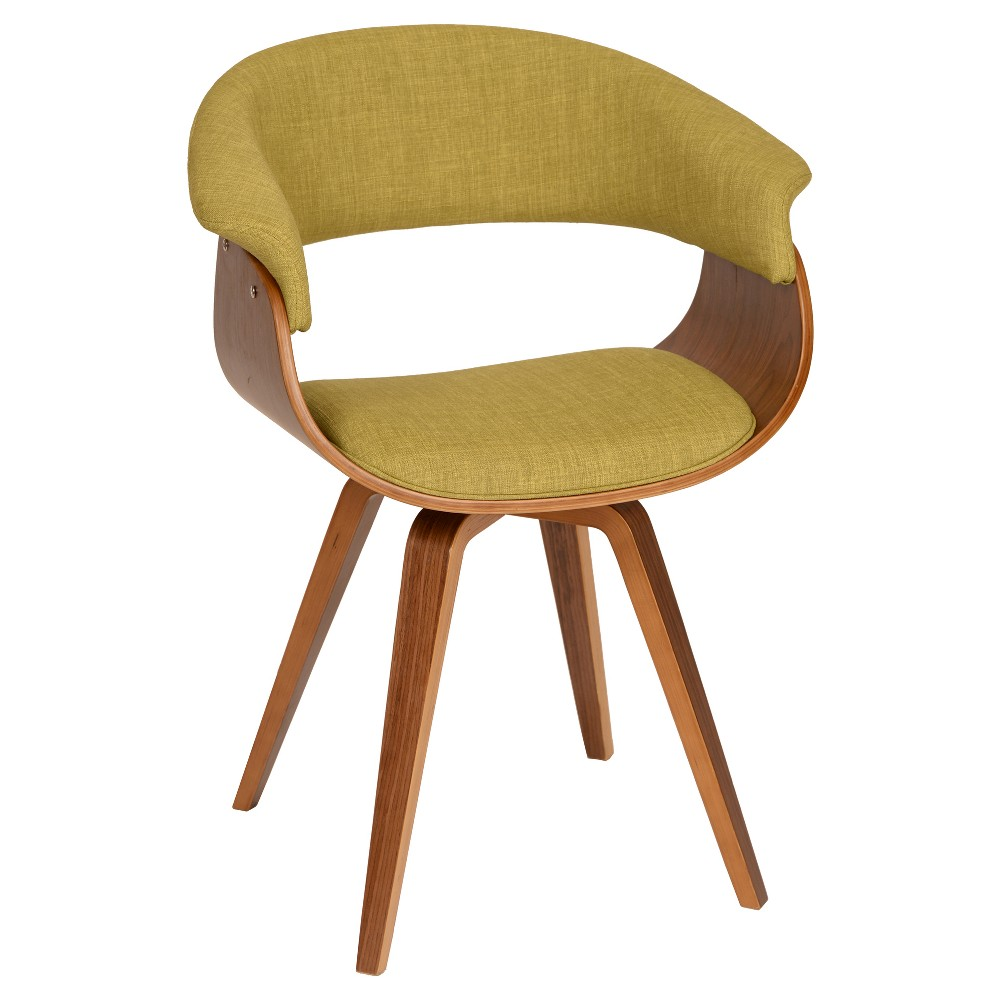 Best Summer Modern Chair Green Fabric And Walnut Wood Armen Living
