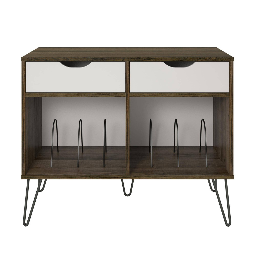Image of Concord Turntable Stand with Drawers Brown Oak - Novogratz