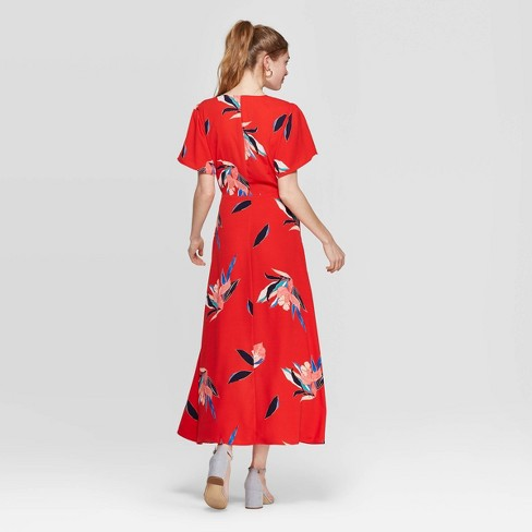 7fdc9ec6b9f6 Women's Floral Print Short Sleeve V-Neck Maxi Wrap Dress - A New Day™ Red