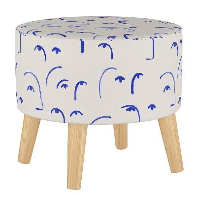 Round Ottoman with Splayed Legs Faces Klein Blue - Skyline Furniture