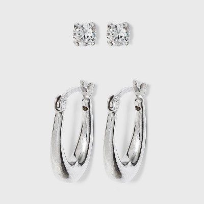 Sterling Silver Cubic Zirconia Oval Tapered Hoop Earring Set 2pc - A New Day™ Silver