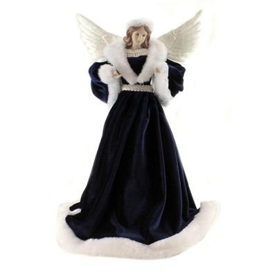 """Tree Topper Finial 16.75"""" Blue Velvet Angel Tree Topper Christmas Heavenly  -  Tree Toppers"""
