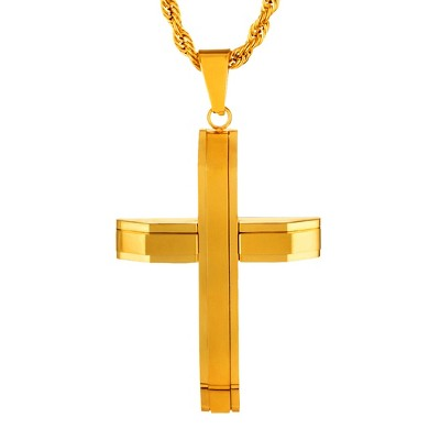 "Men's Crucible® Stainless Steel Layered Cross Pendant Necklace - (24"")"
