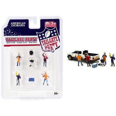 """""""Tailgate Party"""" Diecast Set of 6 pieces (4 Figurines and 2 Accessories) for 1/64 Scale Models by American Diorama"""