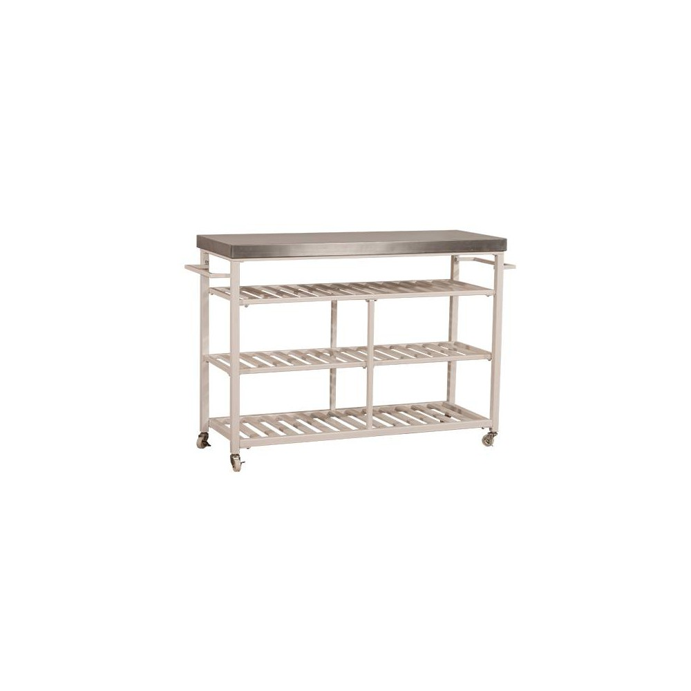 Kennon Stainless Kitchen Cart White/Stainless Steel (White/Silver) - Hillsdale Furniture