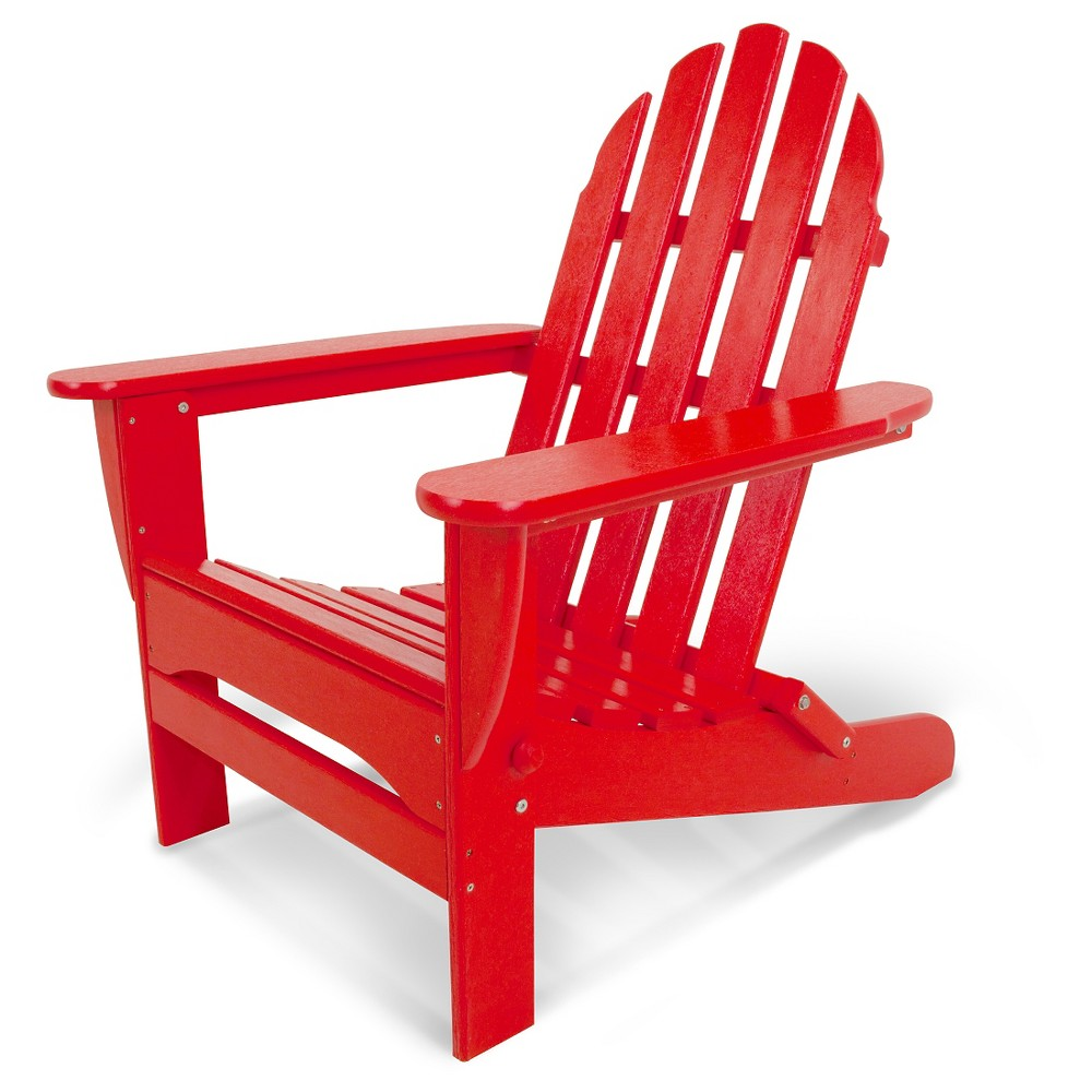 Image of POLYWOOD Classic Folding Patio Adirondack Chair - Red