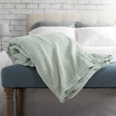 100% Cotton Luxury Soft Blanket (King)Seafoam Chevrons - Yorkshire Home
