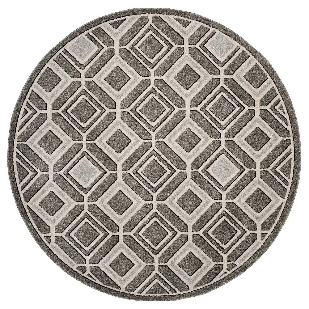 Gray/Light Gray Geometric Loomed Round Area Rug 7' - Safavieh