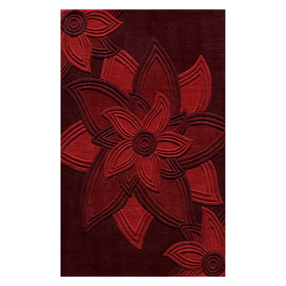 5'X8' Floral Tufted Area Rug Red - Momeni
