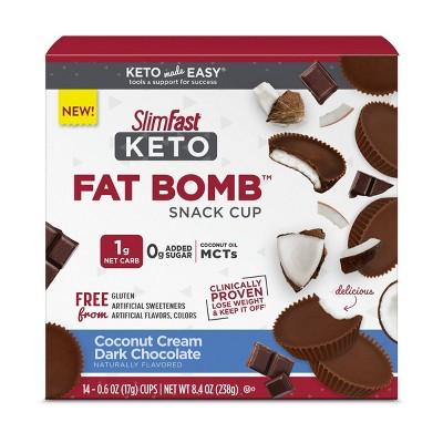 SlimFast Keto Fat Bomb Snack Cup - Coconut Cream Dark Chocolate - 14ct