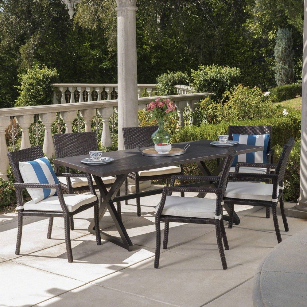 Alani 7pc Aluminum Dining Set Brown White Christopher Knight Home