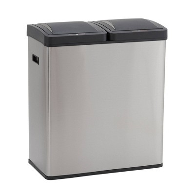 Household Essentials 30L Design Trend Recycle And Trash Sensor Bin Stainless Steel
