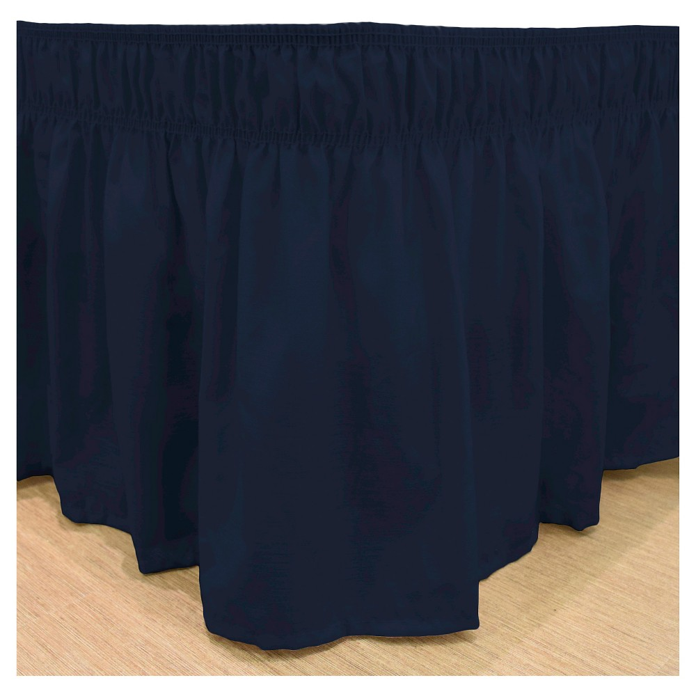Navy (Blue) Wrap Around Solid Ruffled Bed Skirt (Queen/King) (80
