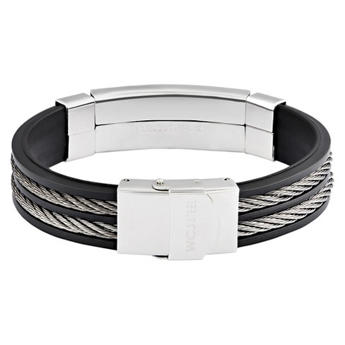 203412369e5cb Men's Hematite Stainless Steel Cable Inlay ID Rubber Bracelet (15mm) -  Black/Silver (8.5
