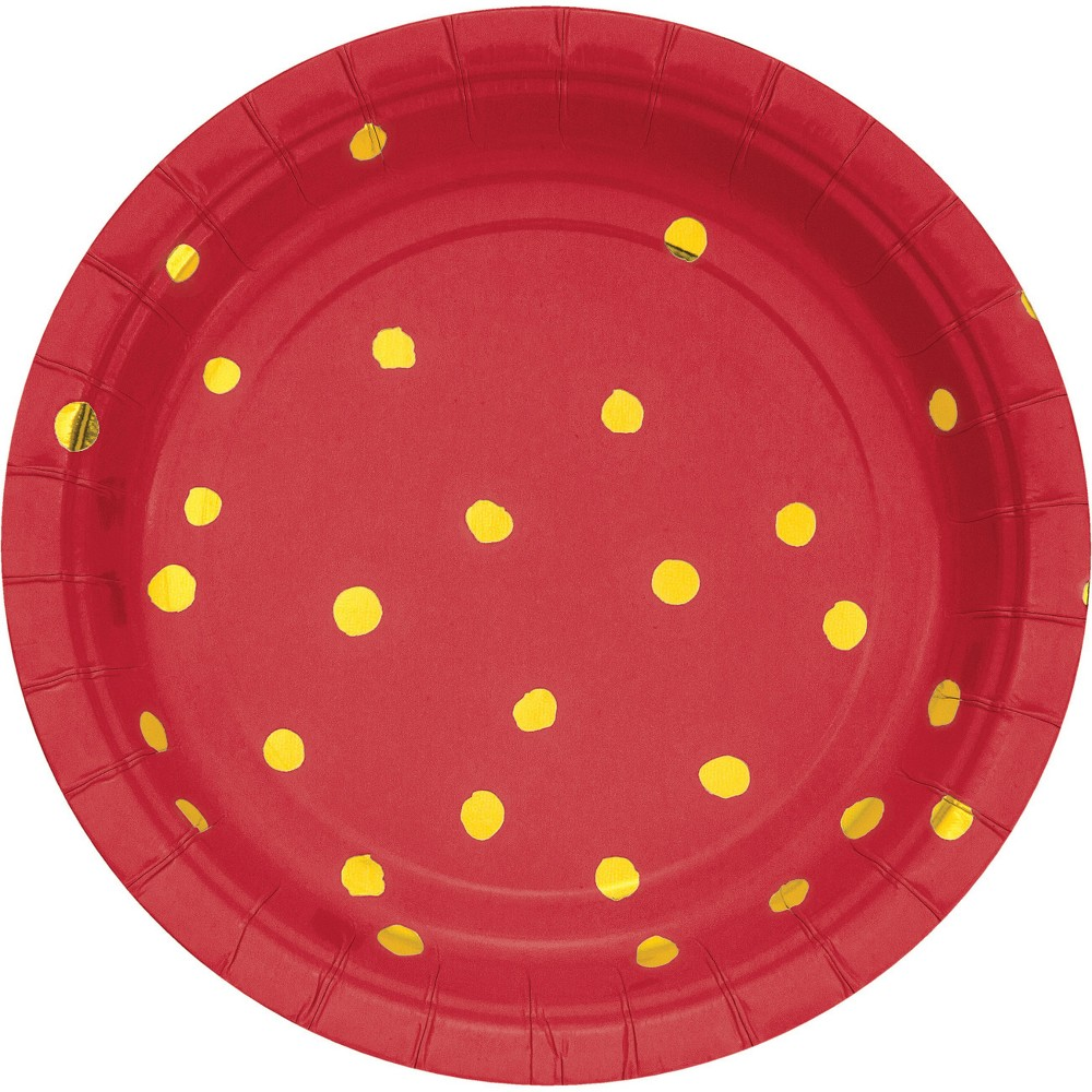 Classic Red and Gold Foil Dot 7 Dessert Plates - 8ct, Multi-Colored