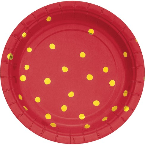 "Classic Red and Gold Foil Dot 7"" Dessert Plates - 8ct - image 1 of 1"