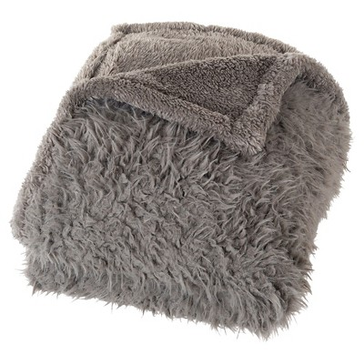 Taupe Brown Solid Fleece Sherpa Backed Throw (50 X60 )- Yorkshire Home