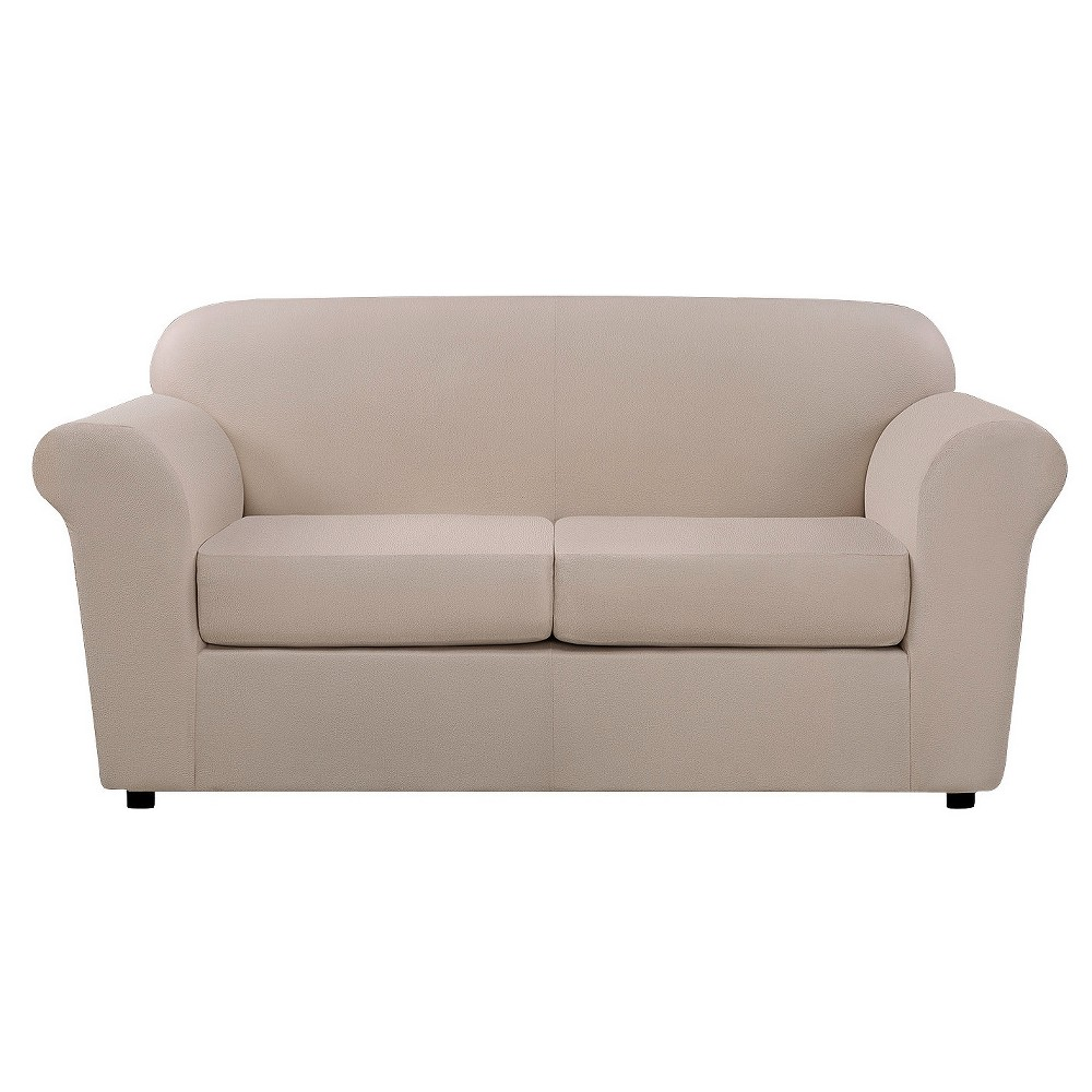 Image of 3pc Ultimate Stretch Leather Loveseat Slipcover Pebbled Ivory - Sure Fit