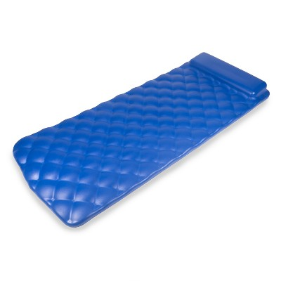 Kelsyus 72 Inch Laguna Lounger Portable Roll Up Foam Floating Mat with Built In Oversized Pillow for Swimming Pool, Lake, Beach, Blue