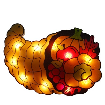 "Northlight 16"" Gold and Red Lighted Cornucopia Thanksgiving Window Silhouette Decoration"