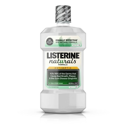 Listerine Naturals Fluoride-Free Mint Antiseptic Mouthwash - 1L - image 1 of 4