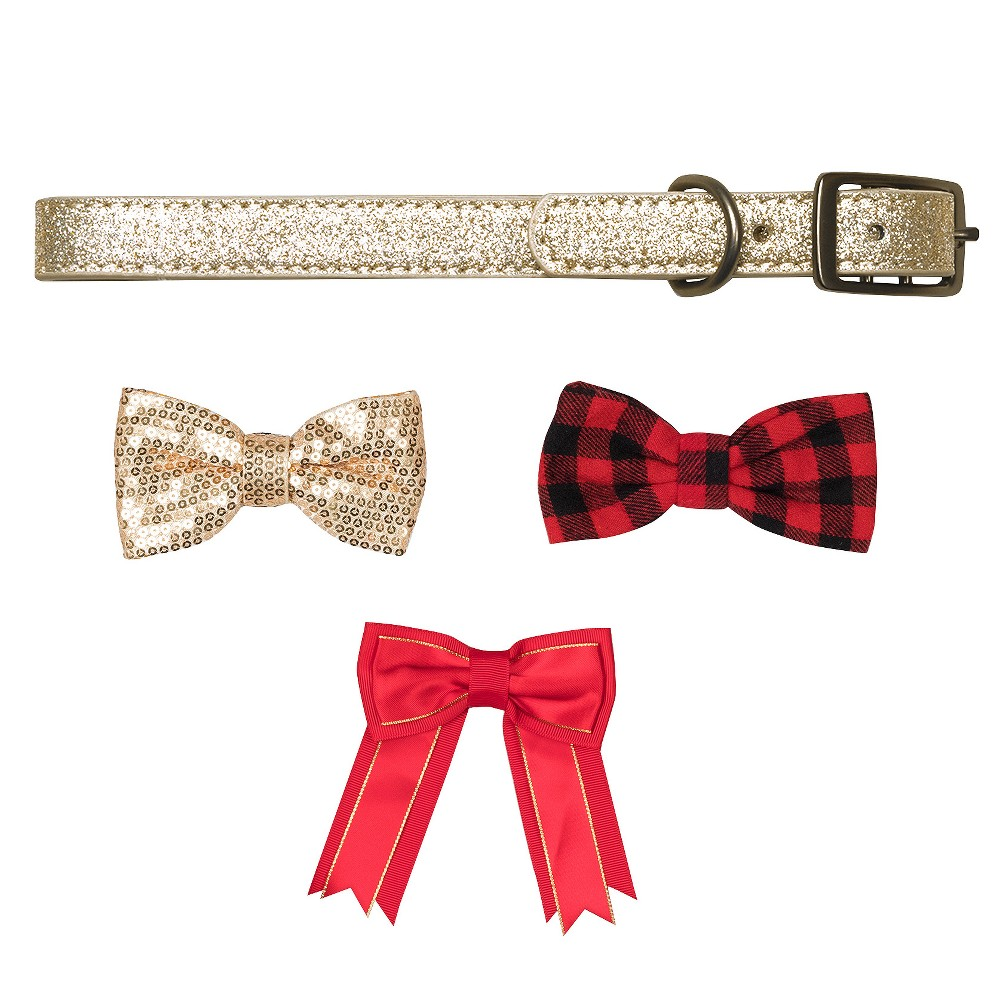 Bow & Arrow Gold Glitter with Bow Tie Accessories Dog Collar - S