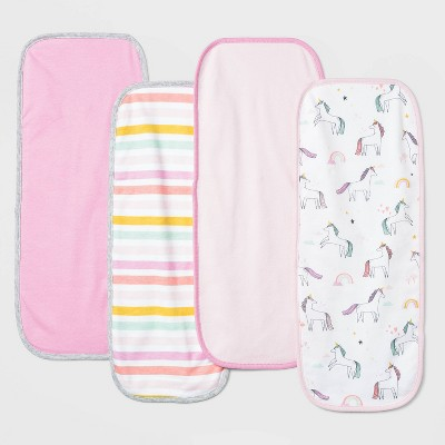 Baby Girls' 4pk Unicorn Adventure Burp Cloth Set - Cloud Island™ Pink
