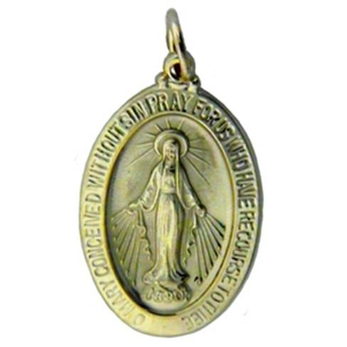 Pompeii3 Yellow Gold 14K Miraculous Mary Religious Pendant - image 1 of 4