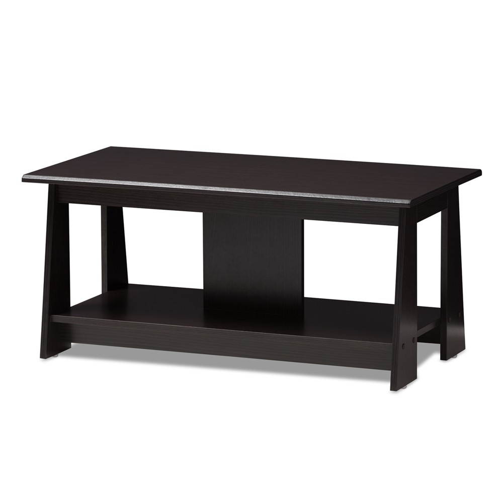Image of Fionan Modern and Contemporary Finished Coffee Table Dark Brown - Baxton Studio