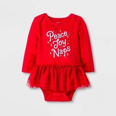 Baby Girls' Holiday 'Peace Joy Naps' Tutu Bodysuit - Cat & Jack™ Red 0-3M