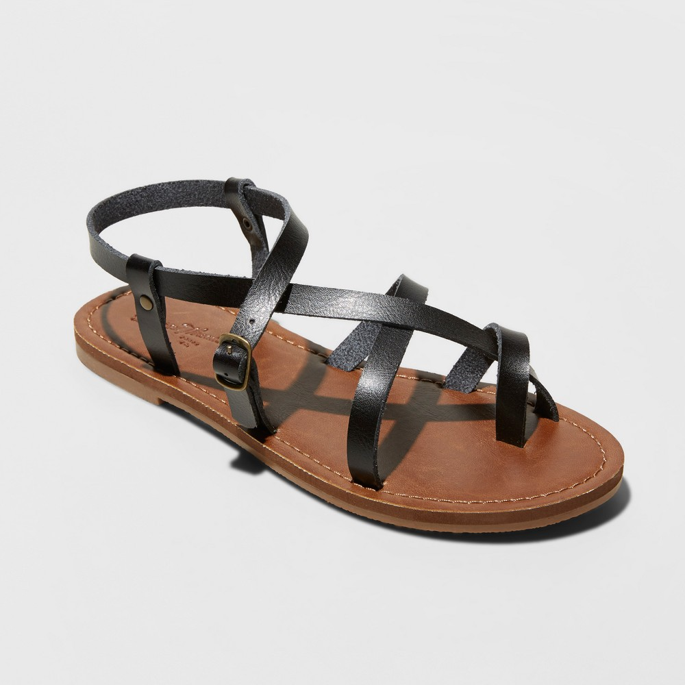 Women's Lavinia Toe Wrap Wide Width Thong Sandal - Universal Thread Black 7W, Size: 7 Wide