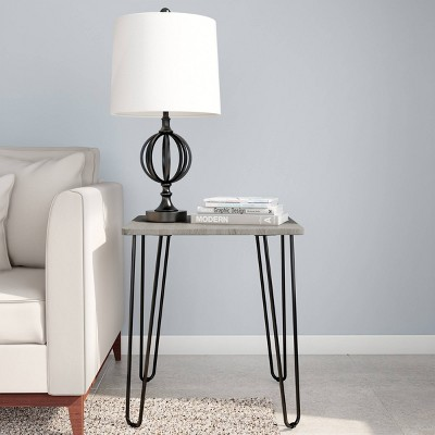 End Table with Hairpin Legs Woodgrain Look Gray - Yorkshire Home