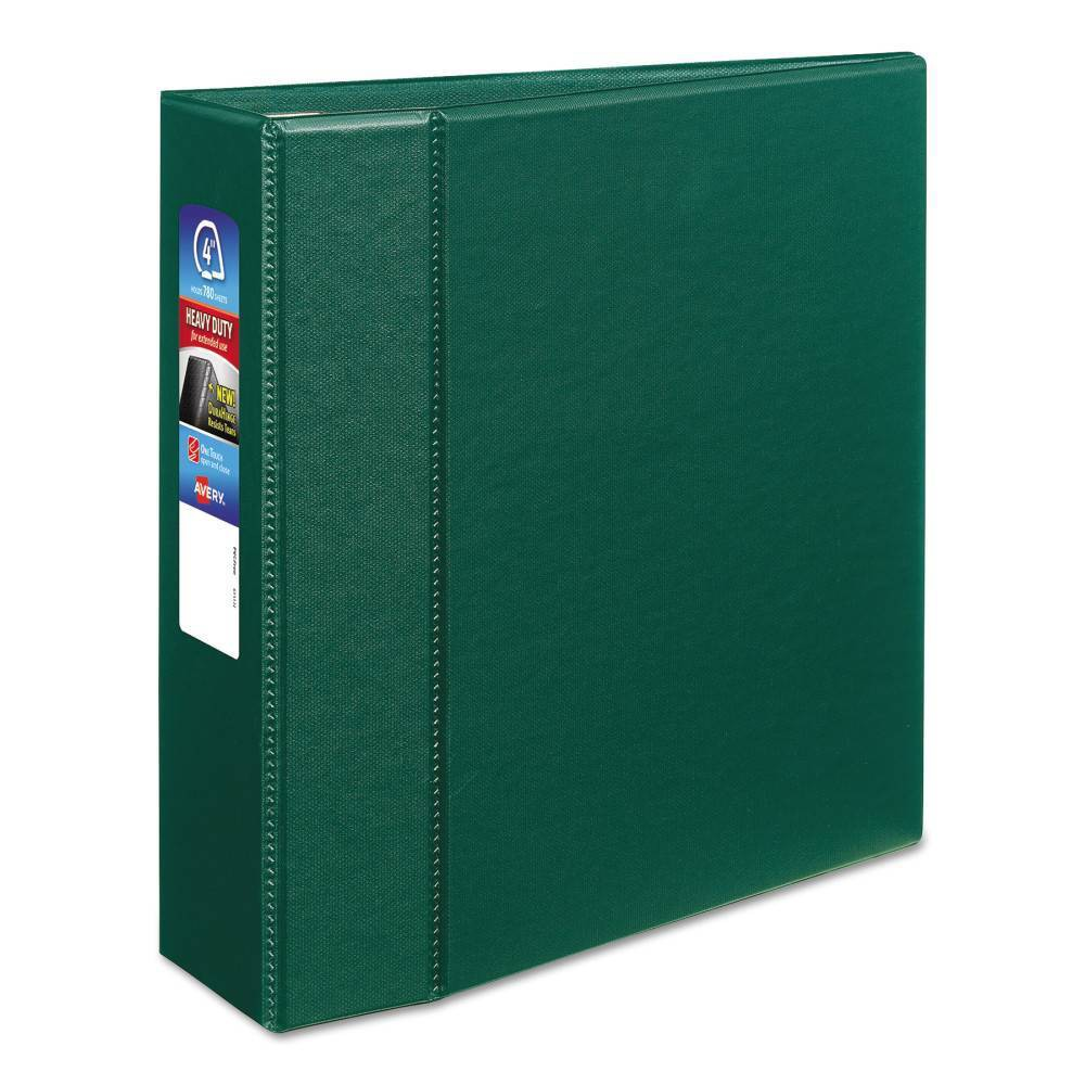 """Image of """"Avery Heavy-Duty Ring Binder with One Touch EZD Rings, 11 x 8 1/2, 4"""""""" Capacity, Green"""""""