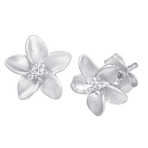 .05 CT. T.W. Diamond Flower Earrings in Sterling Silver - image 1 of 2