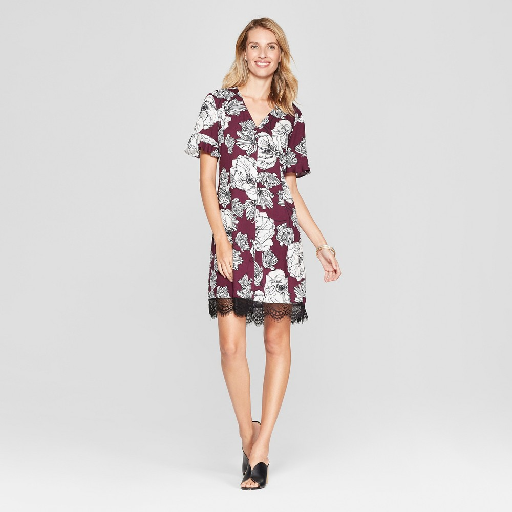 Image of Women's Floral Print Button Front Lace Trim Dress - Chiasso - Burgundy M, Size: Medium, Red