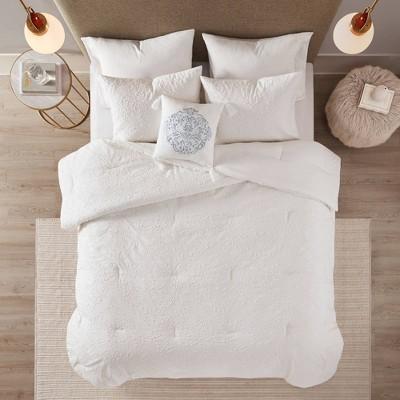 Full/Queen 4pc Madeline Microsculpt Comforter Set White