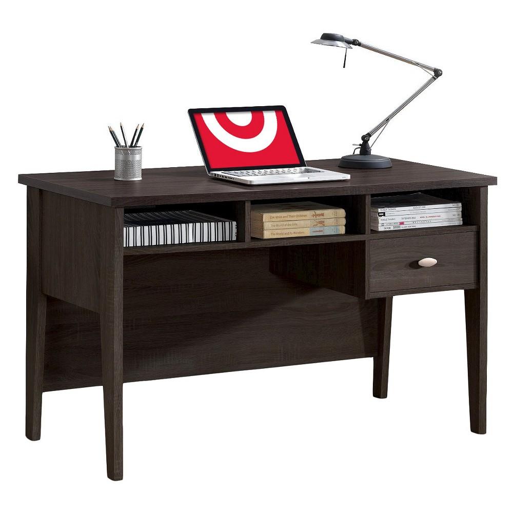 Folio Single Drawer Desk Black Espresso (Brown) - CorLiving