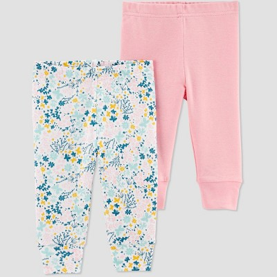 Baby Girls' 2pk Floral Leggings - Just One You® made by carter's Rose Pink Newborn