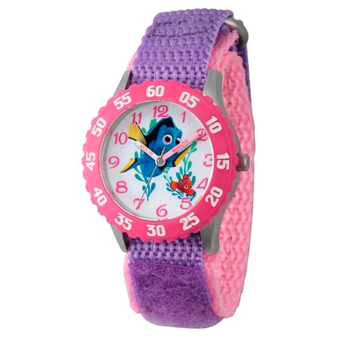 Girls' Disney Finding Dory Stainless Steel Time Teacher Watch - Purple - image 1 of 2