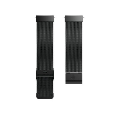 Fitbit Versa Fitness Tracker Band Adjustable - Black Stainless Steel/Metal Mesh