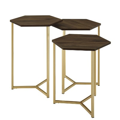 Set of 3 Glam Geometric Nesting Hexagon Accent Tables - Saracina Home