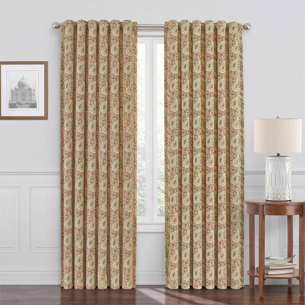 63 34 X52 34 Paisley Verveine Light Filtering Window Curtain Orange Waverly