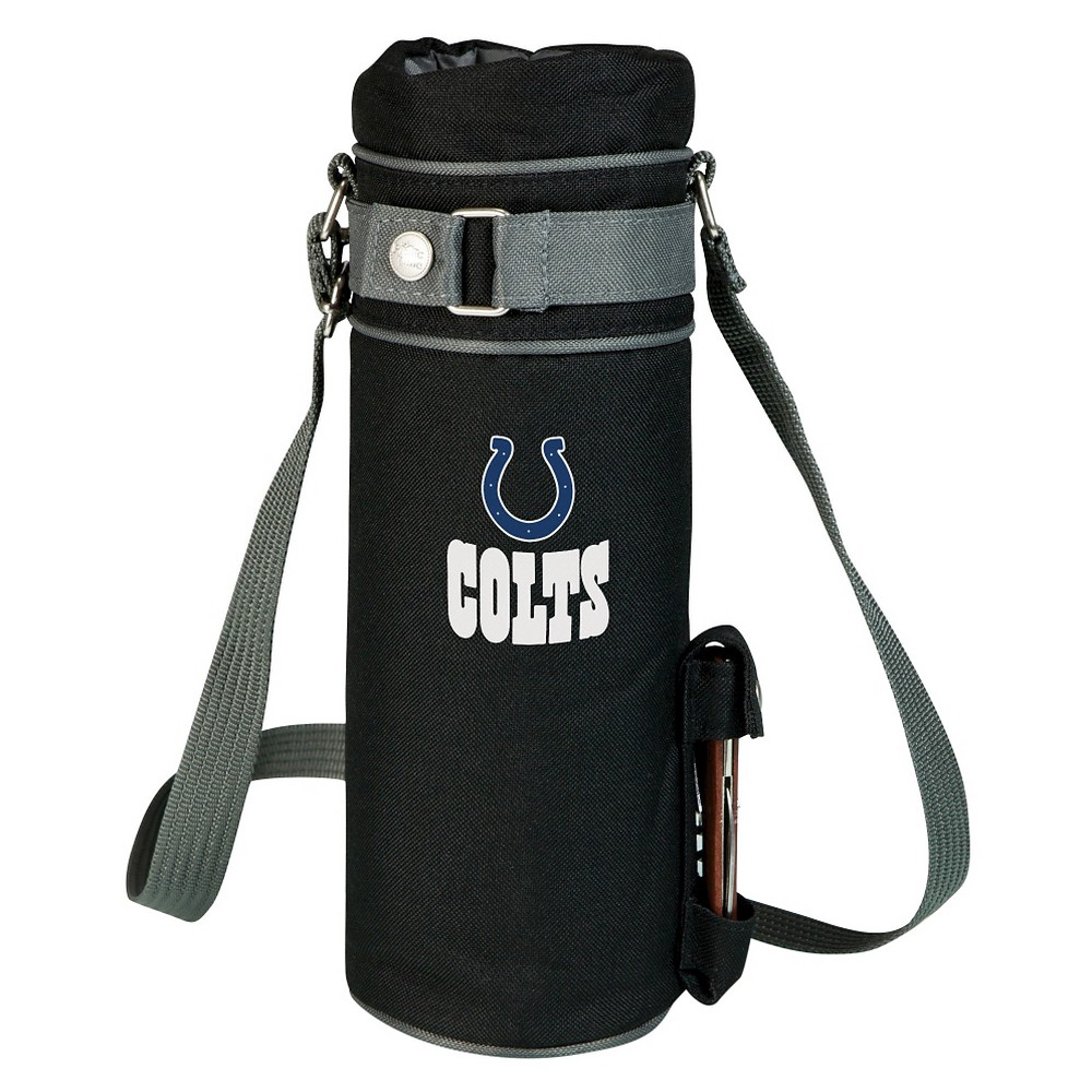 Indianapolis Colts - Wine Sack Beverage Tote by Picnic Time (Black) Those who enjoy wine will appreciate the style and simplicity of the Wine Sack, an insulated single-bottle tote with an adjustable shoulder strap. It features a stainless steel waiter-style corkscrew conveniently stored in its own secure pocket. The Wine Sack is made of polyester canvas with complementing brown trim. The tote is fully-insulated to keep your wine at the perfect temperature until you're ready to uncork it. Perfect for any occasion. When you'd like to bring your own wine to share, let the Wine Sack help you take it there! Color: Indianapolis Colts.