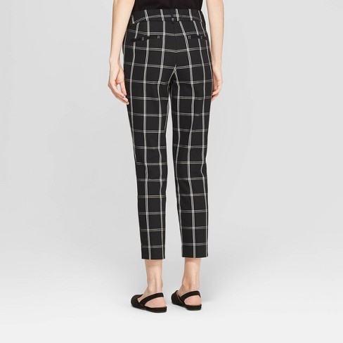 e154977aab22 Women's Plaid High-Rise Skinny Ankle Pants - A New Day™ Black/White ...