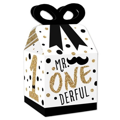 Big Dot of Happiness 1st Birthday Little Mr. Onederful - Square Favor Gift Boxes - Boy First Birthday Party Bow Boxes - Set of 12
