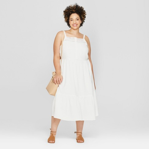 Womens Plus Size Button Front Tiered Dress Universal Thread